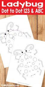 Ladybug Numbers and Alphabet Dot to Dot Worksheet