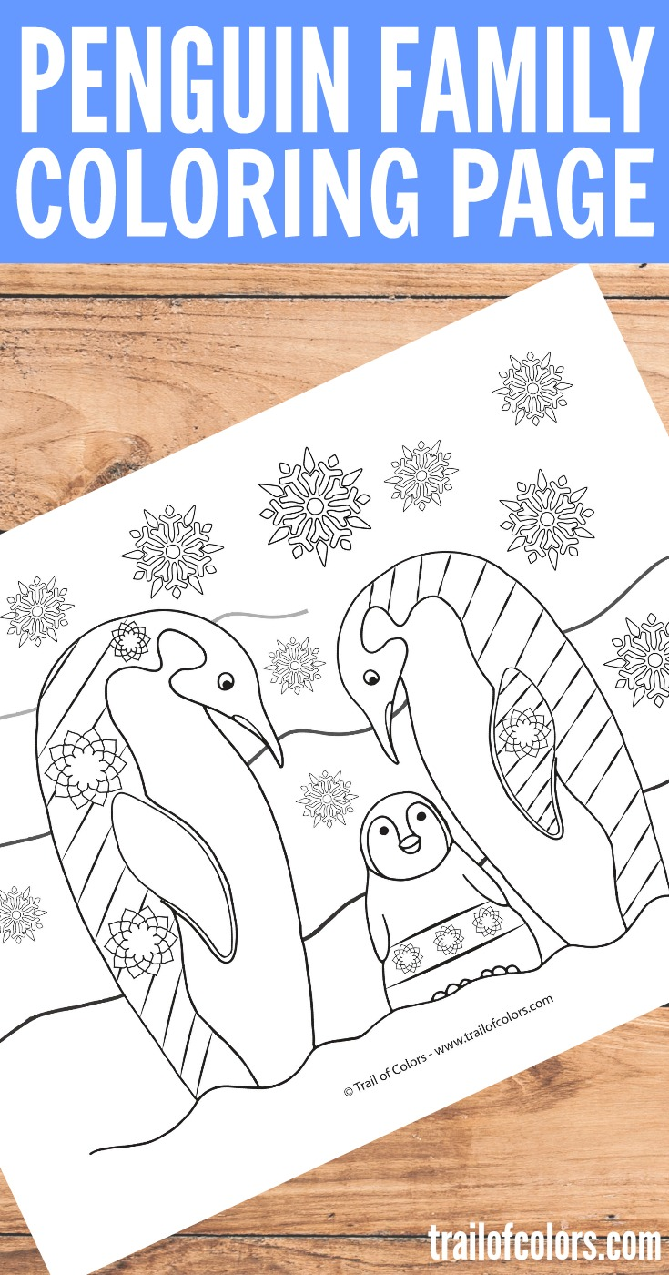 Penguin Family Coloring Page for Adults - Trail Of Colors