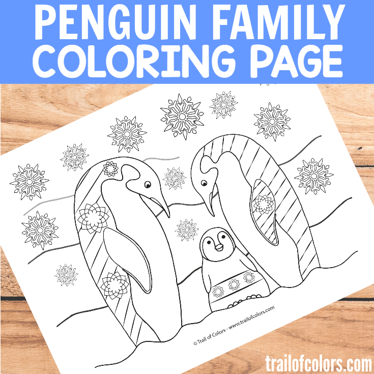 Penguin Family Coloring Page