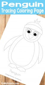 Penguin Tracing Coloring Page