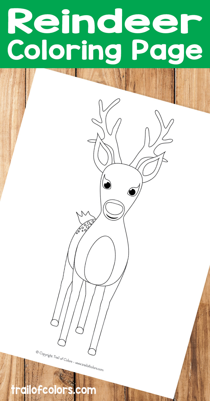 Cute Reindeer Coloring Page for Kids - Trail Of Colors