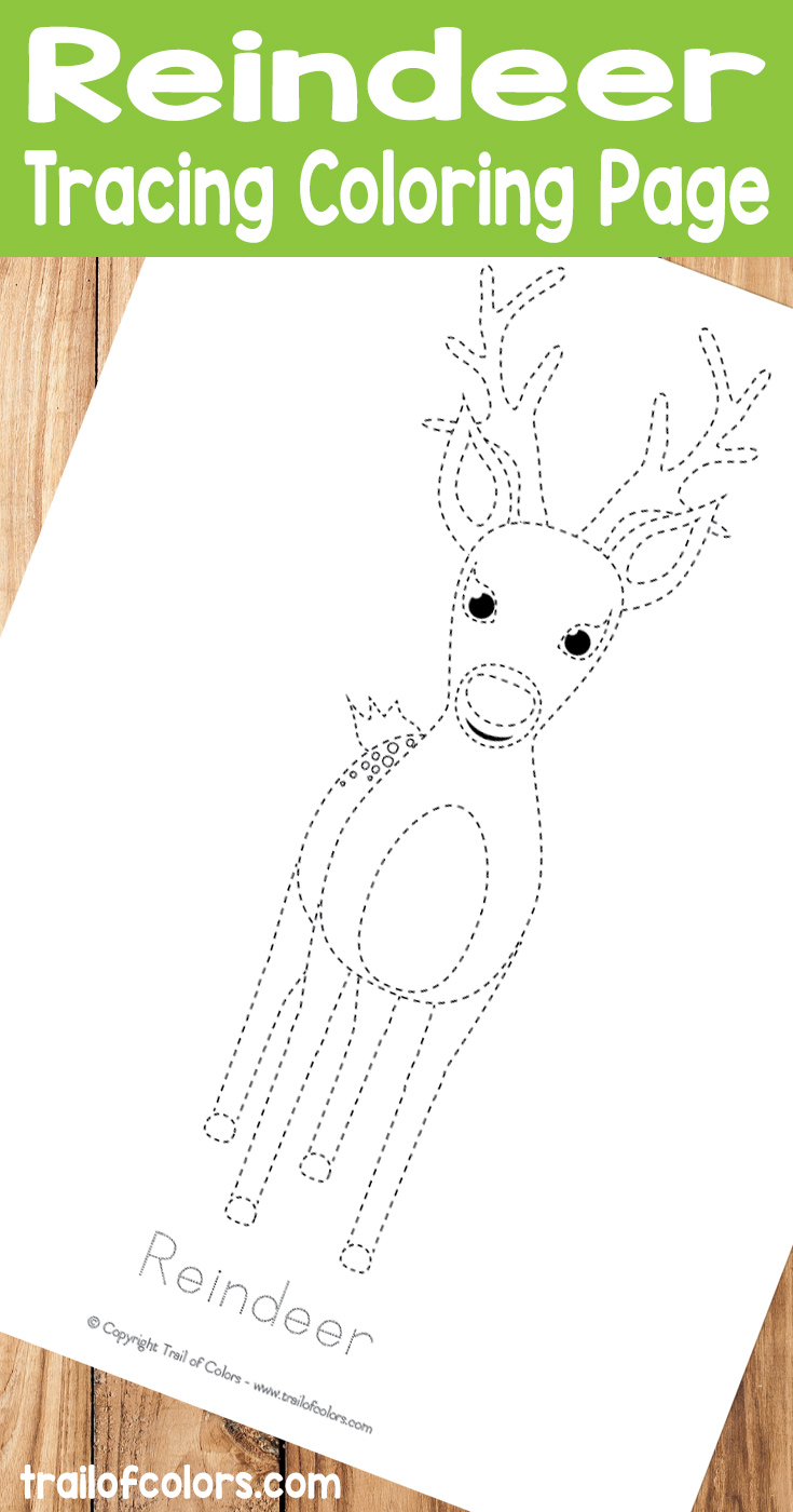 Free Printable Reindeer Tracing Coloring Page for Kids