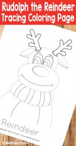 Rudolph The Reindeer Tracing Coloring Page
