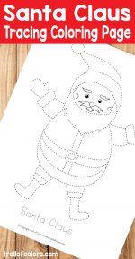 Santa Tracing Coloring Page for Kids