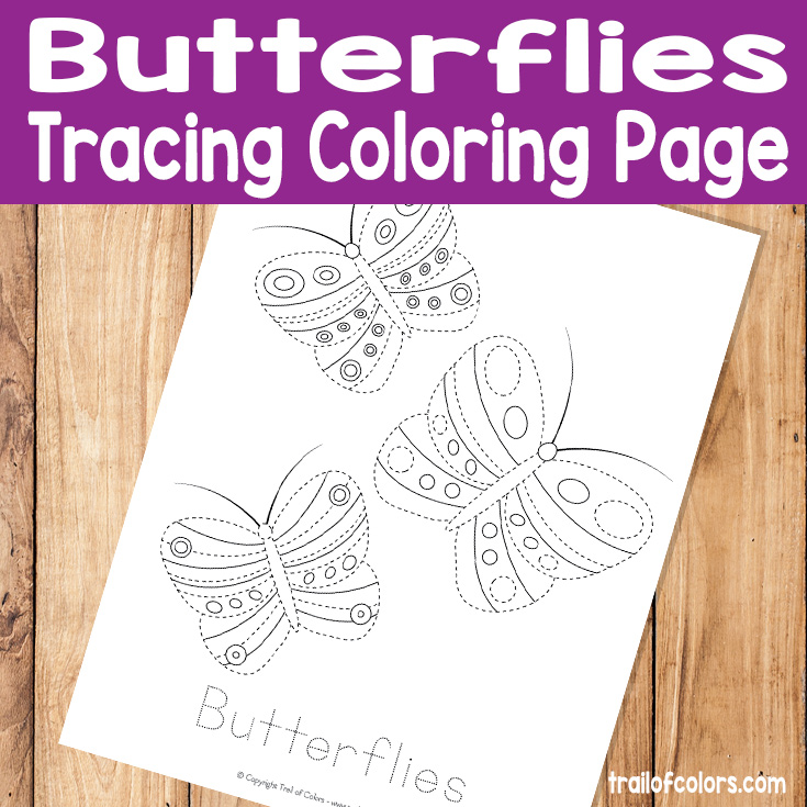 Butterflies Tracing Coloring Page