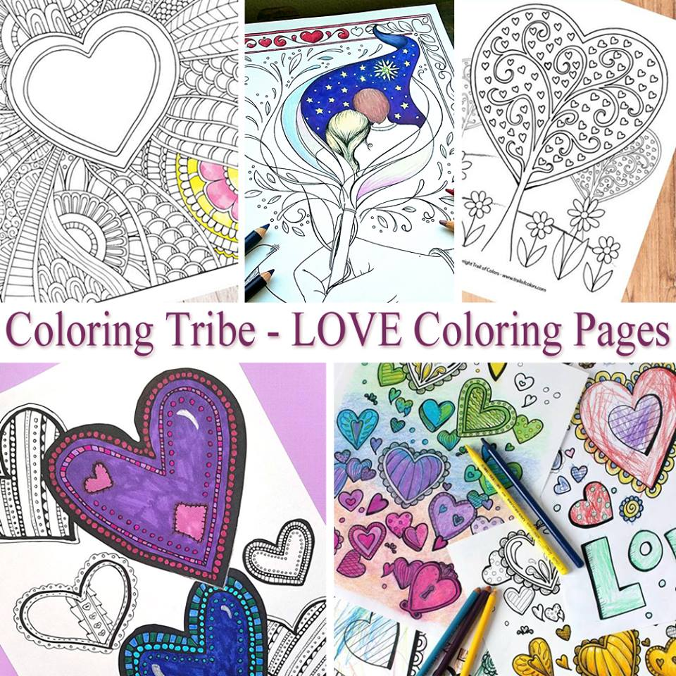 Coloring Tribe LOVE Coloring Pages for Grown Ups