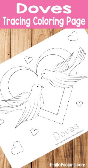 Free Printable Doves Tracing Coloring Page