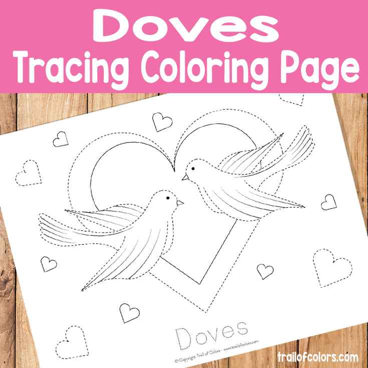 Doves Tracing Coloring Page