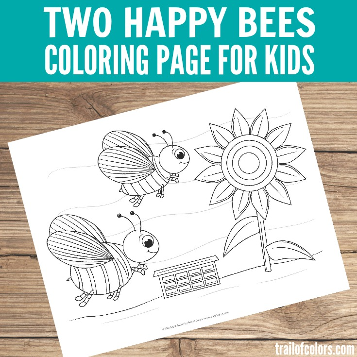 Free Printable Bees Coloring Page for Kids
