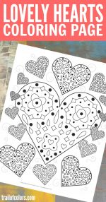 Lovely Hearts Coloring Page – free printable