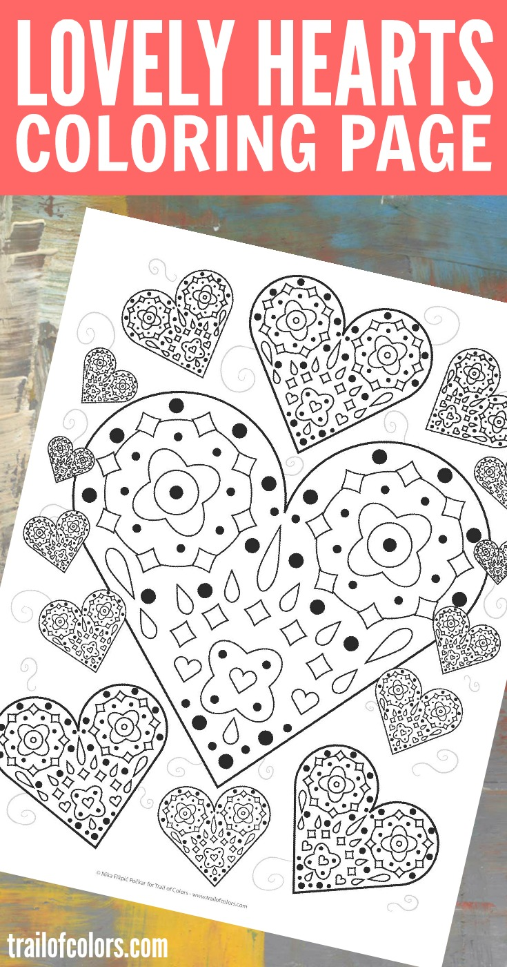image relating to Printable Hearts to Color identified as Attractive Hearts Coloring Web page - absolutely free printable - Path Of Hues