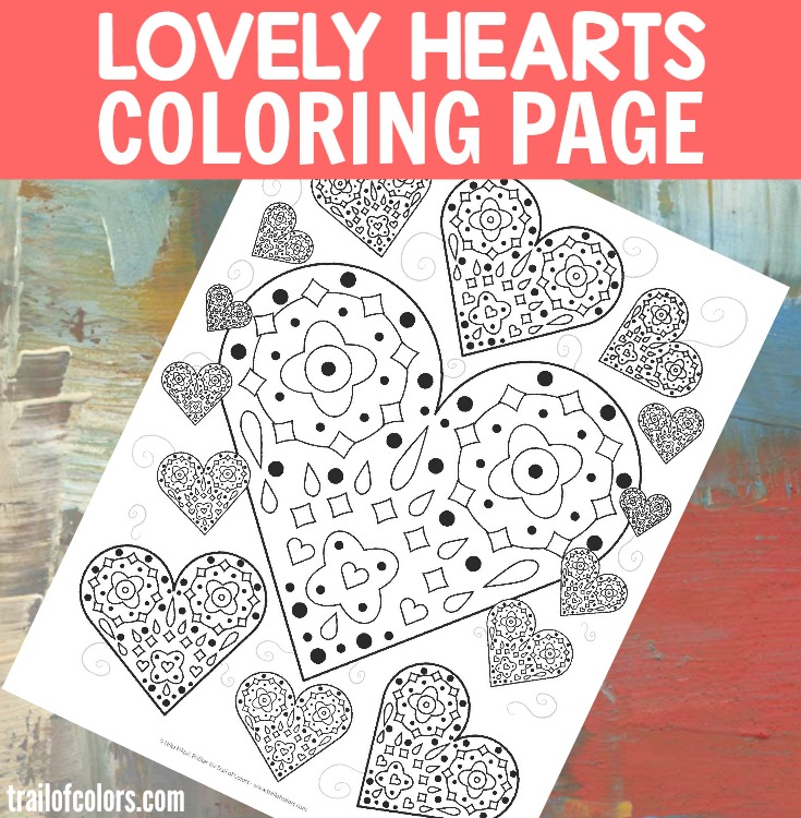 Lovely Hearts Coloring Page