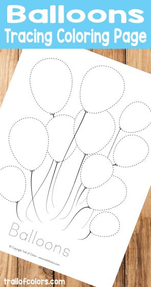 Free Printable Balloons Tracing Coloring Page for Kids