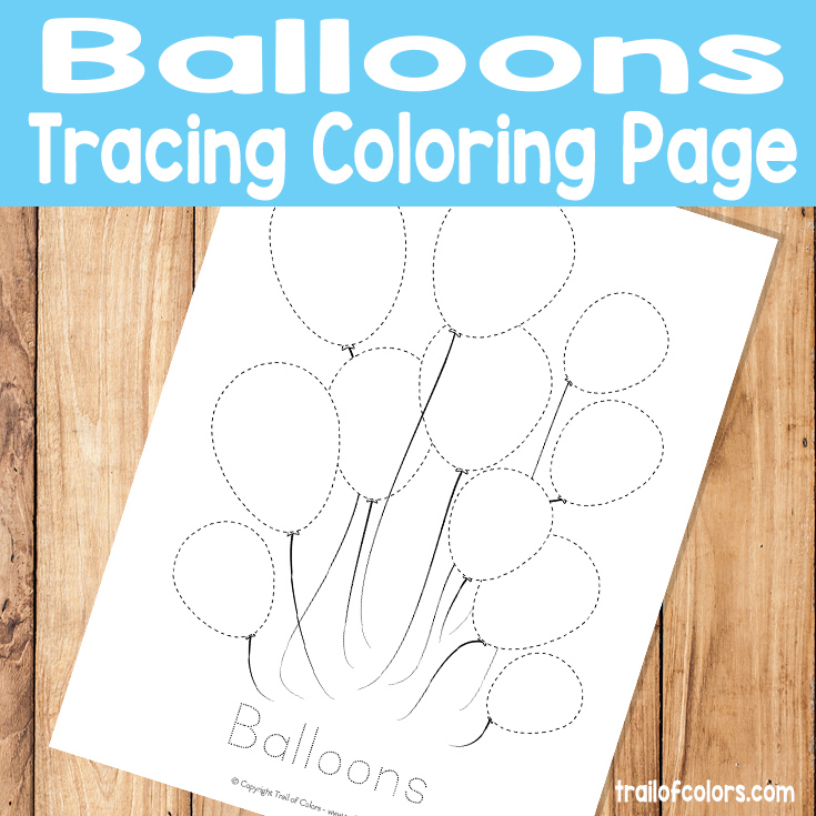 Balloons Tracing Coloring Page