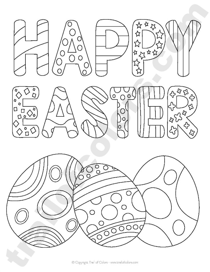 Free Printable Happy Easter Tracing Coloring Page