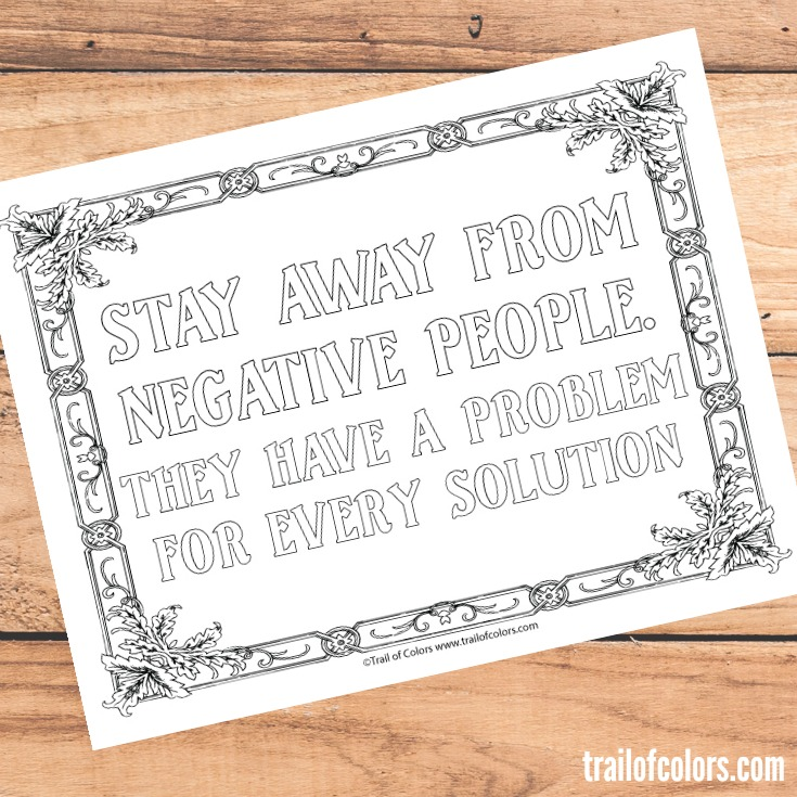 - Quote Coloring Page For Grown Ups - Trail Of Colors