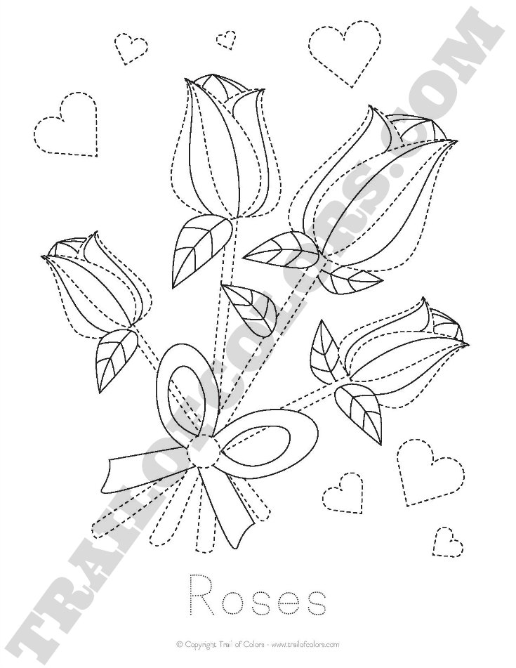 Free Printable Roses Tracing Coloring Page