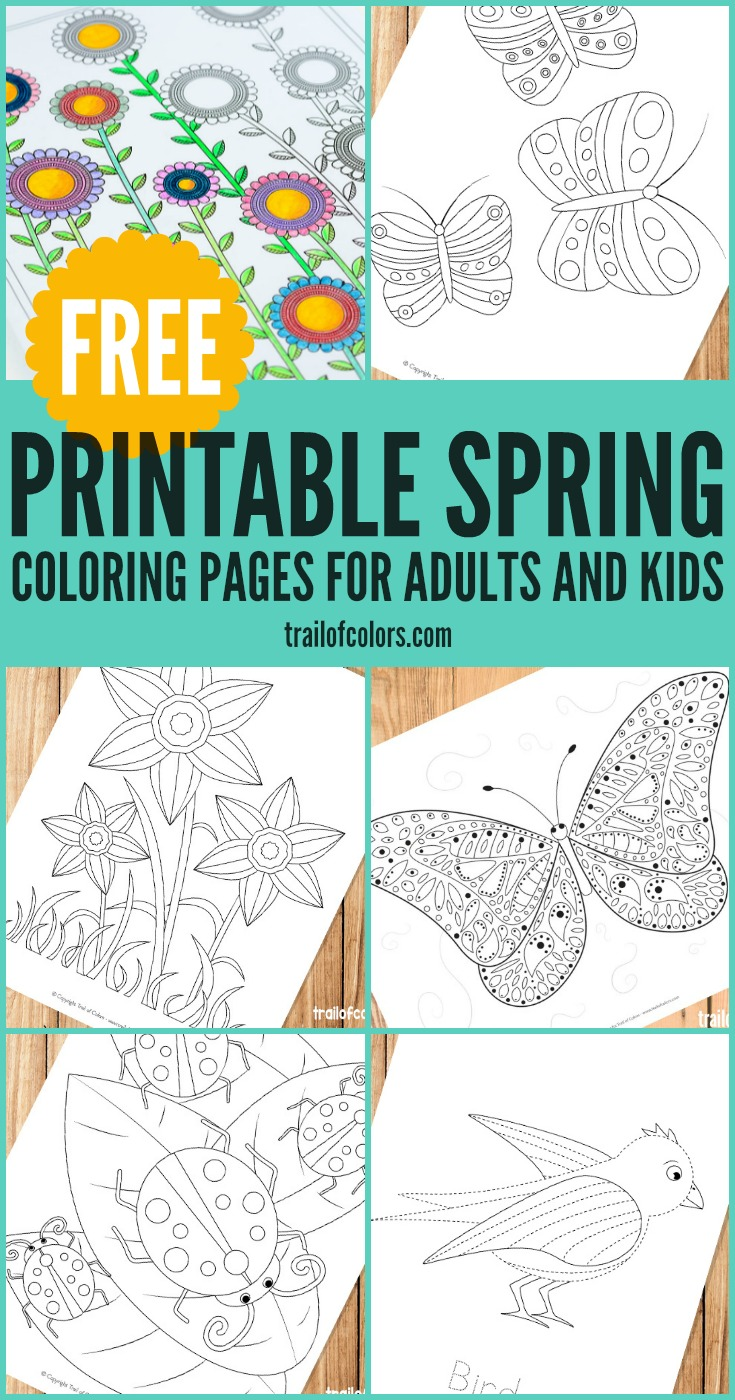 Free Printable Spring Coloring Pages Pages for Grown Ups and Kids