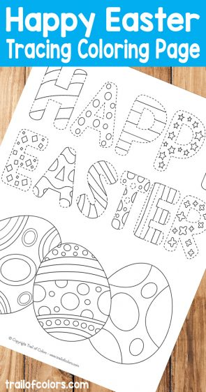 Happy Easter Tracing Coloring Page for Kids