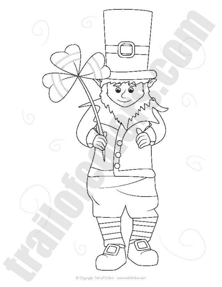 Adorable Leprechaun Coloring Page St Patrick 39 s Day Free