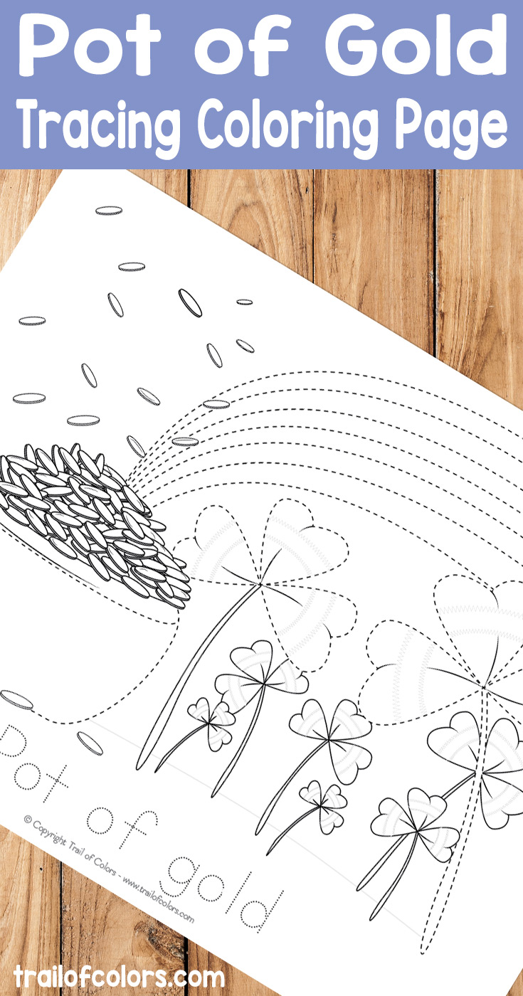 Pot of Gold Tracing Coloring Page for Kids