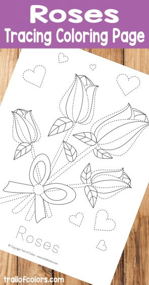 Roses Tracing Coloring Page for Kids