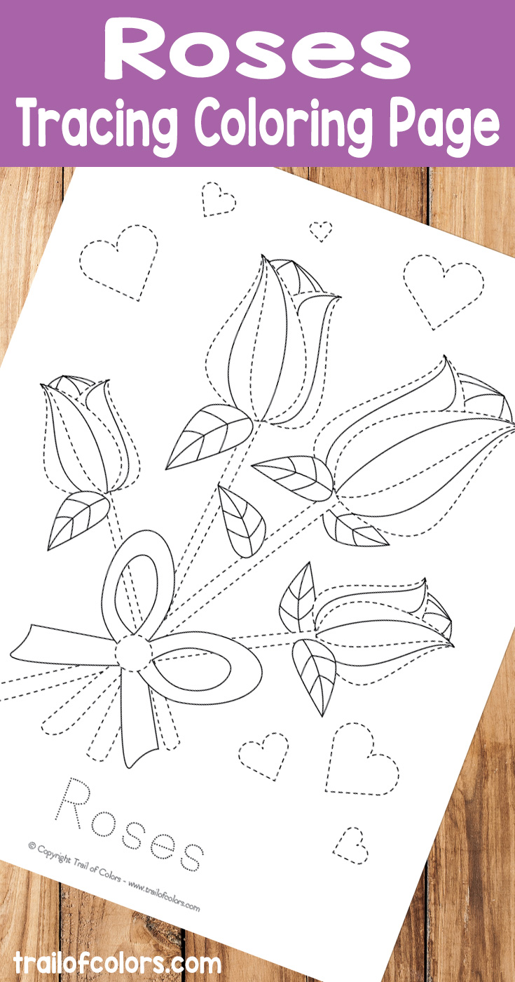 Free Printable Roses Tracing Coloring Page for Kids