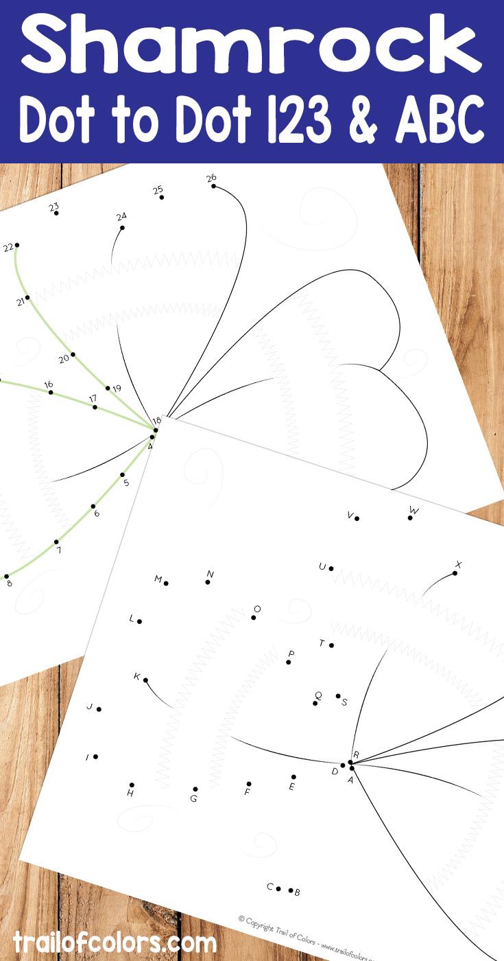image relating to Free Printable Shamrocks named Shamrock Dot towards Dot - St. Patricks Working day No cost Printable